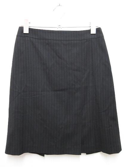 組曲 KUMIKYOKU スカート ひざ丈 タイト ストライプ ストレッチ サイドジップ 1 黒 ブラ