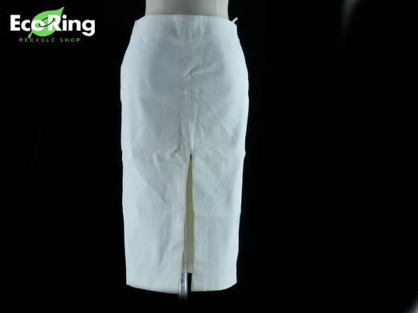 1円 グッチ スリット入り タイト スカート size40 ホワイト CW723