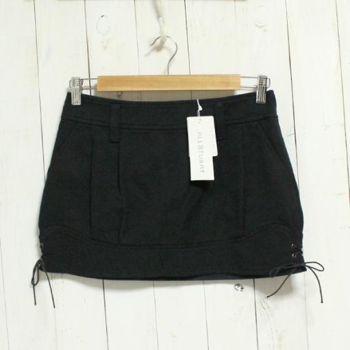 新品タグ付き ジルスチュアート JILL STUART スカート コットン素材 裾紐りぼん size0 黒