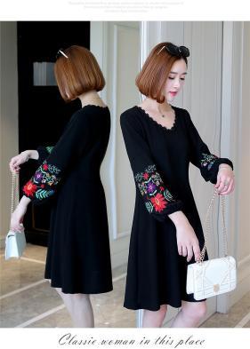 新品大きいサイズ6L21号ガーリー袖刺繍ゴシックワンピース 黒