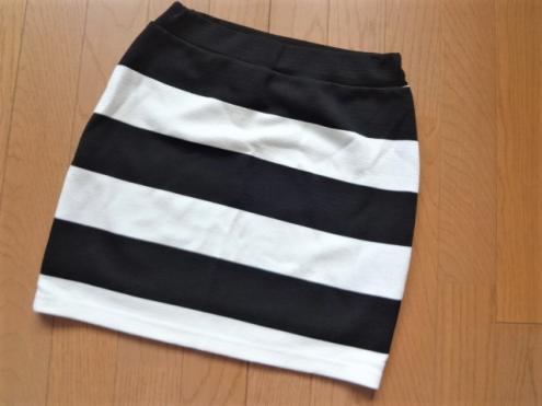 セシルマクビー 白黒 ボーダー カラーブロック ミニスカート 超美品 M 送164~