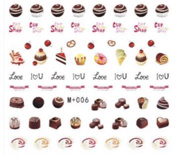 即決★ウォーターネイルシール★チョコレート M+006