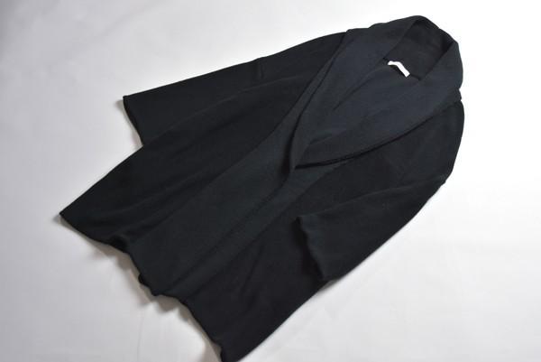 美品◆STUDIOUS ステュディオス ショールカラー ロング ニットカーディガン ブラック E62