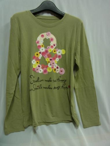 34-7 &LOVE HAPPYフローラルな&Tシャツ カーキ M