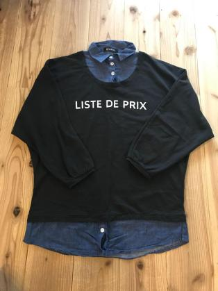 グレイル GRL デニムシャツ 重ね着風 トレーナー レディース 服 Mサイズ ゆったりめ 黒