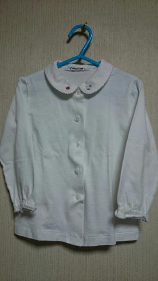 ■ファミリア 現行品■ブラウス 100 美品/定価7884円 日本製 長袖シャツ 刺繍 カットソー