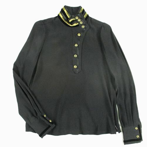 L948★GUCCI グッチ 2008AW コレクション ランウェイアイテム メタルボタンシルクシャツ