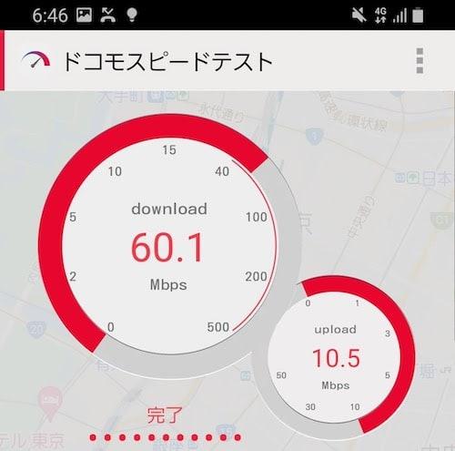 UQモバイルの平日夜の速度(ドコモスピードテスト)