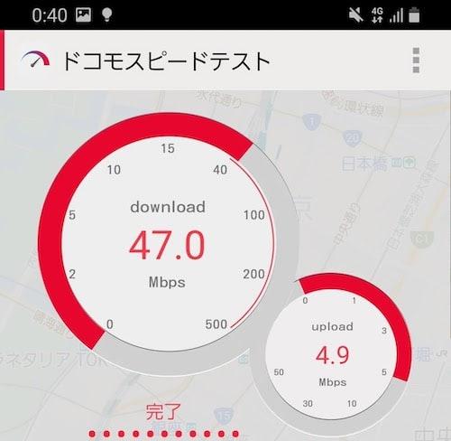 UQモバイルの平日昼の速度(ドコモスピードテスト)