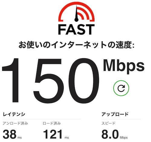 ドコモのhome5GのFAST.comの速度結果