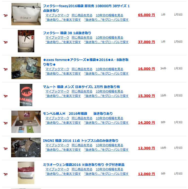 抜き取り福袋のオークション検索結果